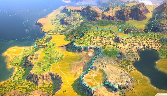A hilltop city overlooking the coast in 4x game Humankind