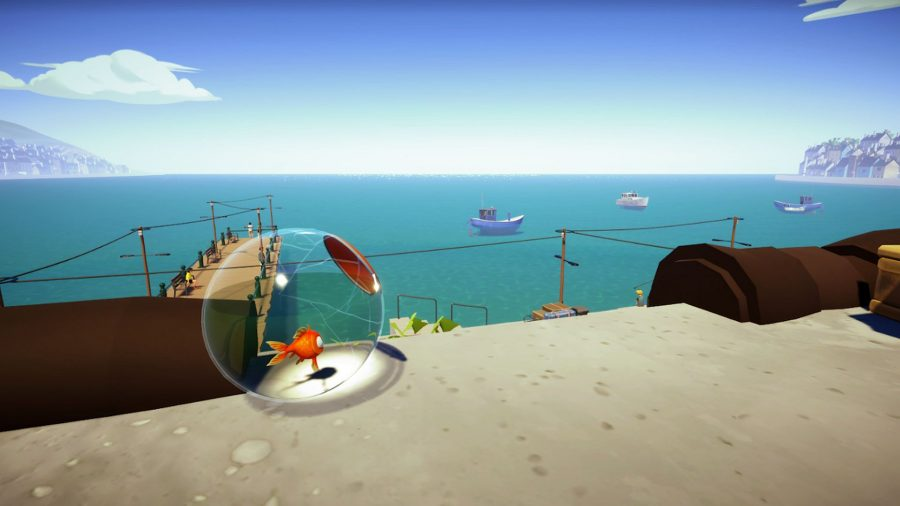 The goldfish from I Am Fish looking out to the ocean