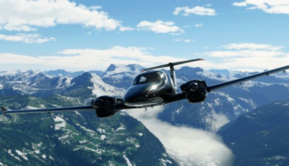 A Microsoft Flight Simulator plane in the air above snow mountains and green valleys