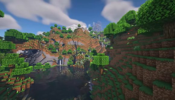 These mountains and valleys were generated in Minecraft 1.18 Experimental Snapshot 2