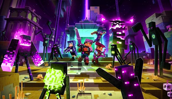A group of Minecraft Dungeon players take on a fleet of Endermen in the Echoing Void DLC