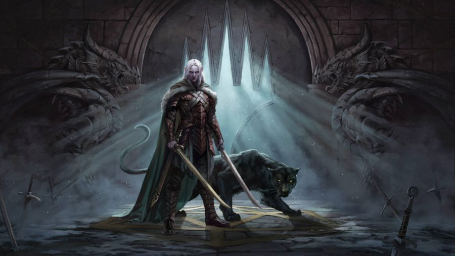 Drizzt, a D&D elf ranger with his beast companion, standing next to the planeswalker symbol.