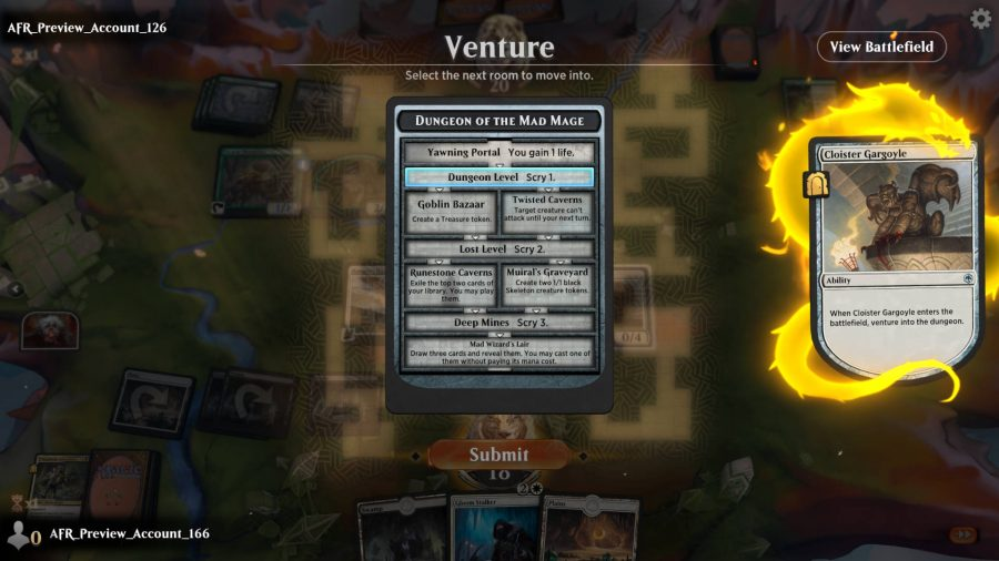 In this MtG Arena game, the player uses the adventure ability to enter a new dungeon room.