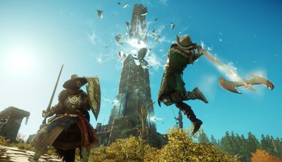 Characters battle in New World, which just launched into an already-massive closed beta