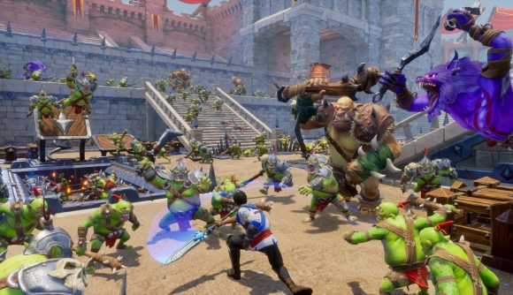 A lone hero takes on a throng of ogres, goblins and orcs in a castle courtyard in Orcs Must Die 3.