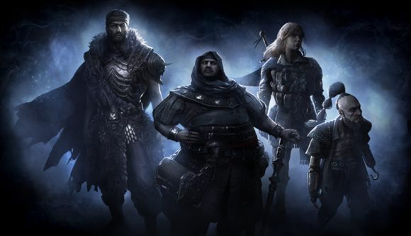 A group of Path of Exile characters stand ready for the Expedition update and its numerous currencies