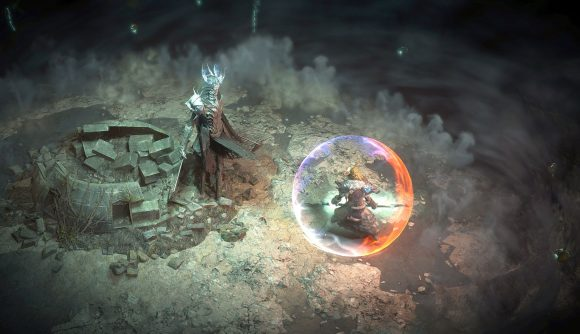 A Path of Exile warrior battling an Expeditions expansion boss using new gems and skills