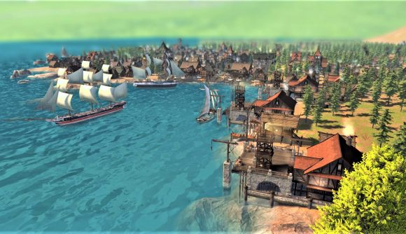 An image of a dock and ocean-side medieval city in new city-building game Patron