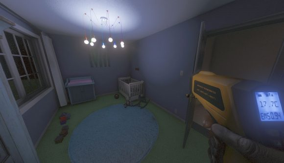 A screenshot of a nursery room in Phasmophobia with a crib, moible, and toys