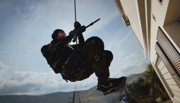 A Rainbow Six Siege player rappels down the side of a building. Who needs Rainbow Six Siege 2, anyway?