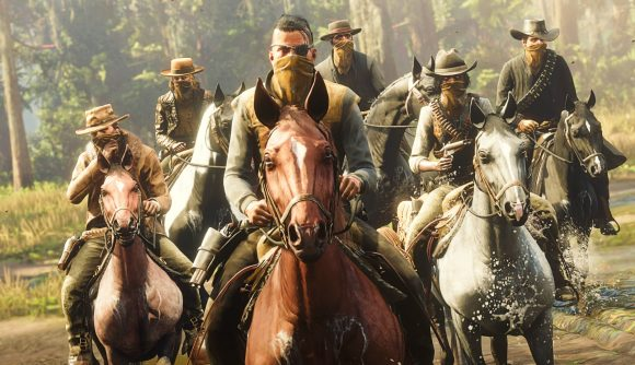 A gang of Red Dead Online players on horses