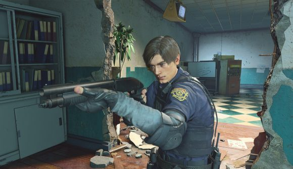 Leon Kennedy from Resident Evil aims a shotgun in Resident Evil Re:Verse