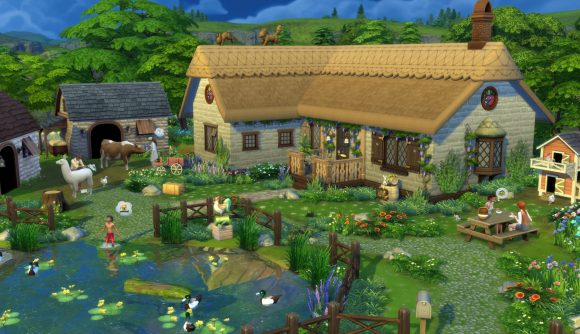 A beautiful cottage in The Sims 4: Cottage Living - and an example of what you can do with the new, free water tool