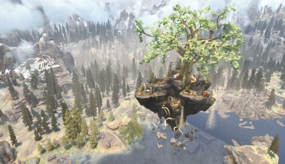 A picture of the world tree Yggdrasil from Norse mythology in Skyrim