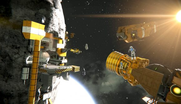 Mining ships approach an asteroid station in simulation game space engineers