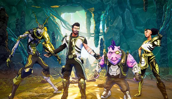 Main playable characters from Space Punks standing in a loot cave