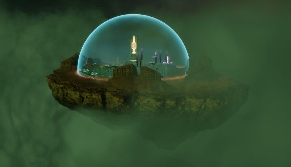 A colony in the city-builder, Sphere, sits on a shard of the moon