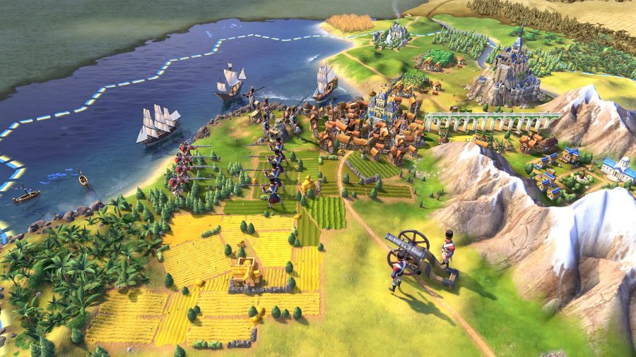A sample shot of strategy games civ 6, showing some armies fighting outside a coastal settlement