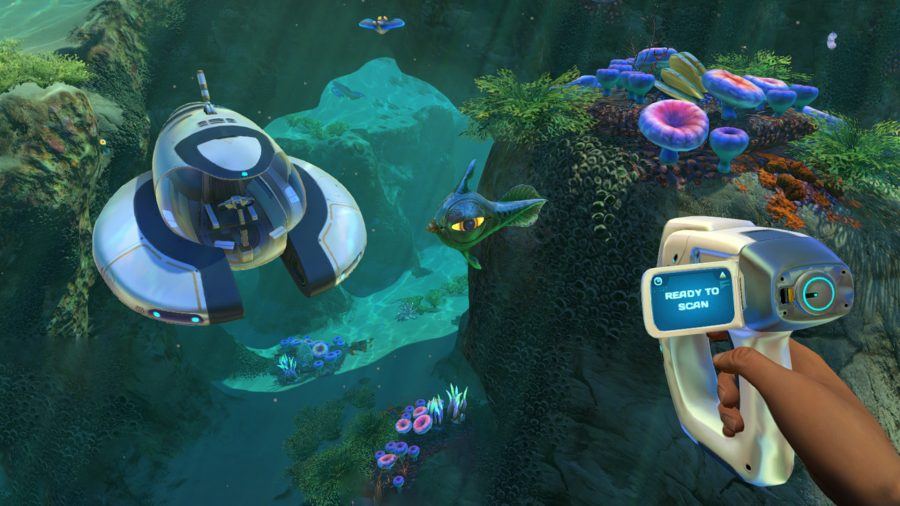 A player under water using the best Subnautica mods