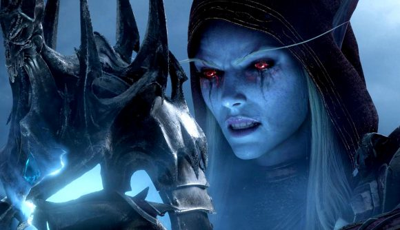 Sylvanas Windrunner gazes at an iron helm in a World of Warcraft cinematic.