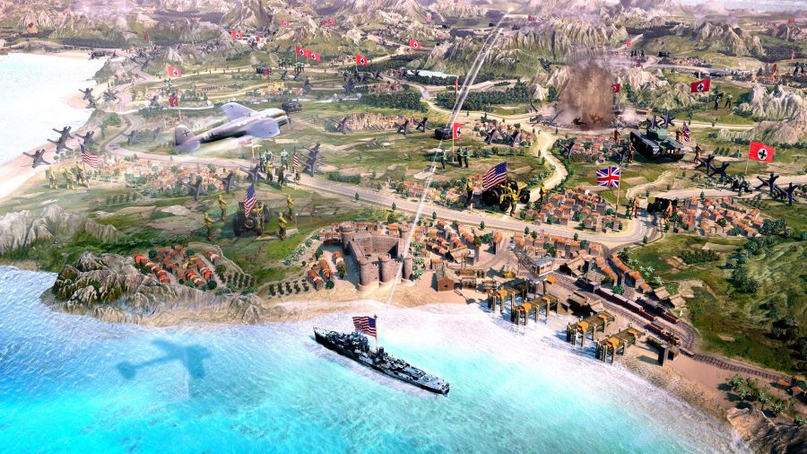 best strategy games pc - a stylised shot of company of heroes 3's campaign map