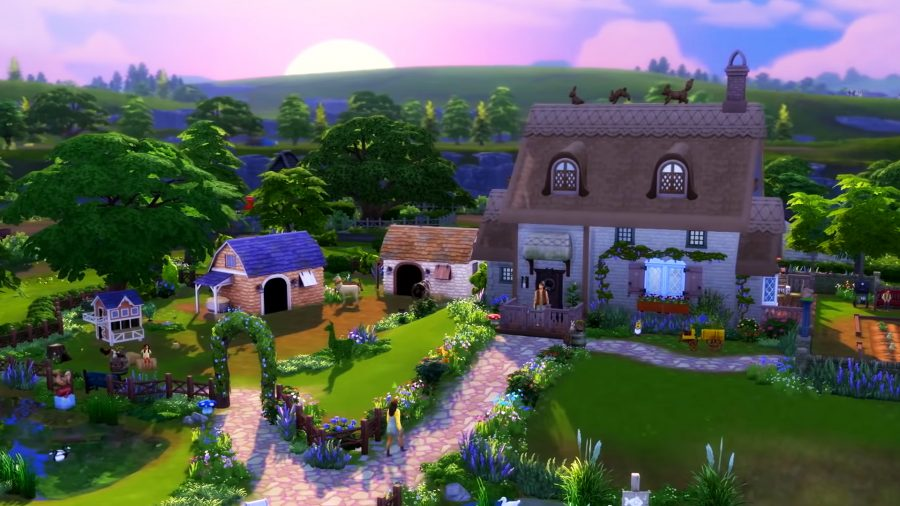 The sun is setting on a cottage surrounded by grass and trees in the Sims 4 Cottage Living expansion pack