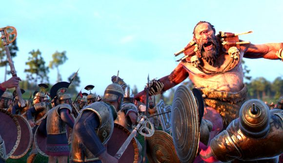 A cyclops roars are some Greek soldiers in strategy game Total War Troy