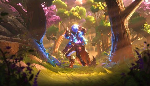 A Dota 2 character standing in an autumnal forest
