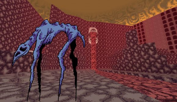 A monster wanders by a river of... blood? Which is flowing from a... mouth? This is Vomitoreum
