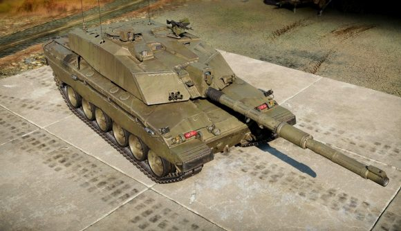 An olive green Challenger 2 Main Battle Tank as it appears in the game War Thunder