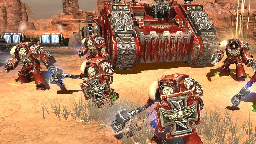 Blood Angel space marines ready for action from warhammer game Dawn of War II