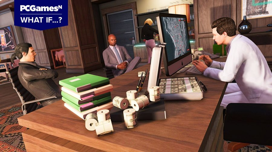 Scene of a business meeting in GTA 5 - What if games cost twice as much?