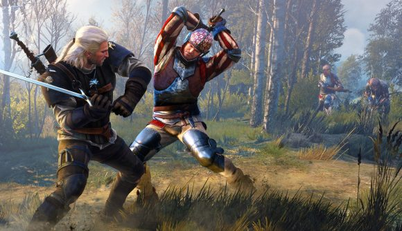 Geralt from The Witcher 3 swings a sword at a soldier in the fantasy game