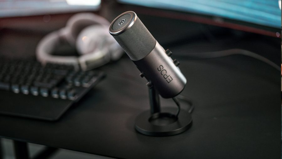 An all-black microphone from EPOS, ready to take on rivals like Logitech, Razer, and Elgato