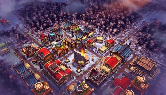 A settlement is seen from above a snow-covered fungal forest in Against the Storm.