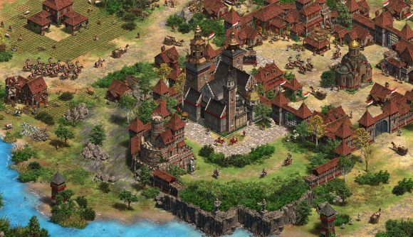 A bustling Polish town is seen in Age of Empires II: Definitive Edition's new DLC, Dawn of the Dukes.
