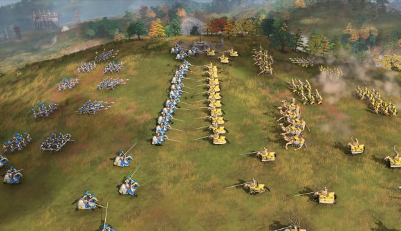 Age of Empires IV soldiers get ready to battle - like you'll be able to do in the upcoming beta