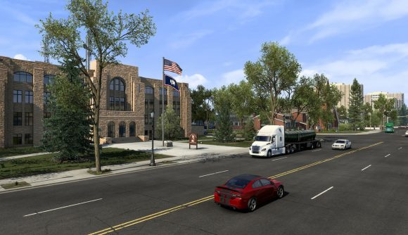 Driving through a Wyoming city in American Truck Simulator