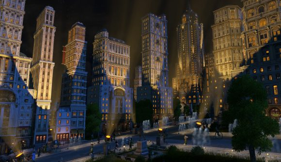 Victorian-era gothic skyscrapers are lit up at night in Anno 1800.
