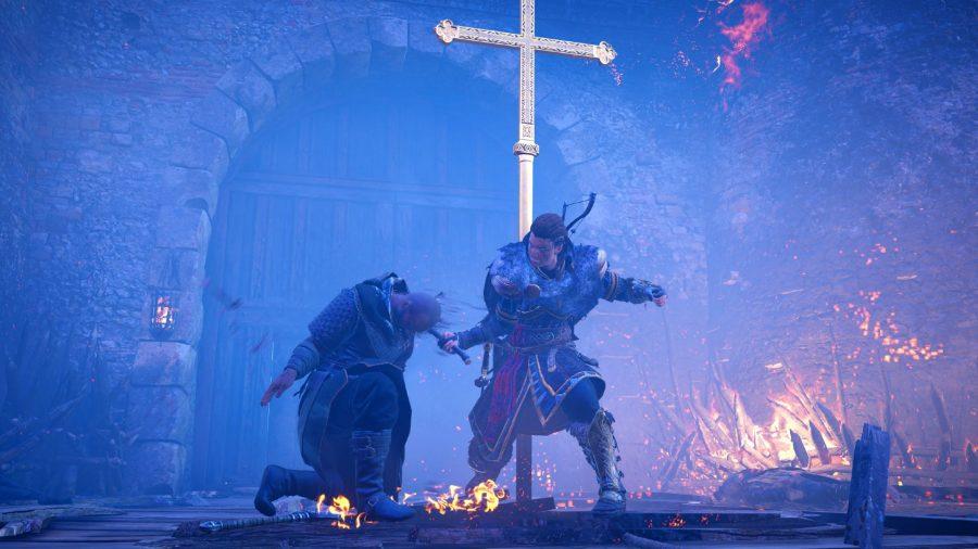 Eivor executing a Frankish solider in Assassin's Creed Valhalla's Siege of Paris DLC