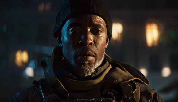 Michael K. Williams is seen close up in the Battlefield 2042 short film Exodus.