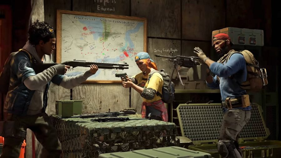 The Cleaners are checking out their guns in Back 4 Blood.