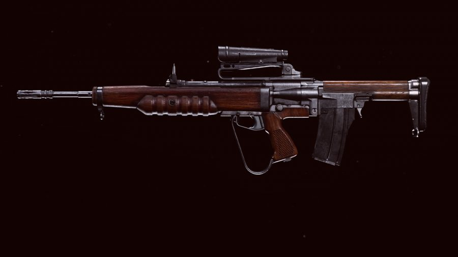The EM2 assault rifle displayed in Call of Duty Warzone's preview menu