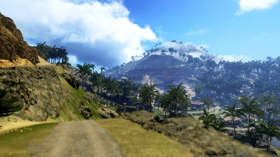The Pacific Warzone map displaying the lush landscape and mountainous region based on the environments in Call of Duty Vanguard
