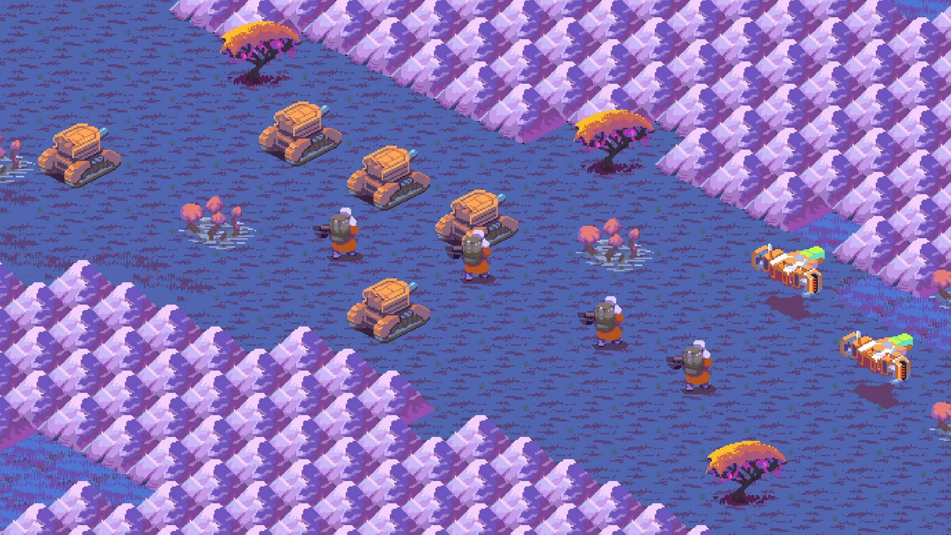 Cantata is a stylish pixel-art strategy game that blends Advance Wars and Factorio
