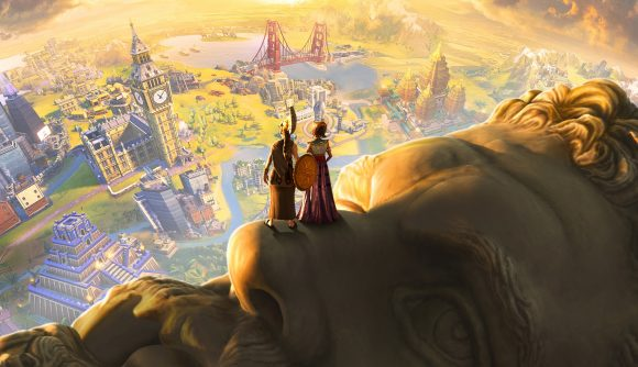 Civ 6 artwork, showing two people standing atop a stone head, looking down at a city below