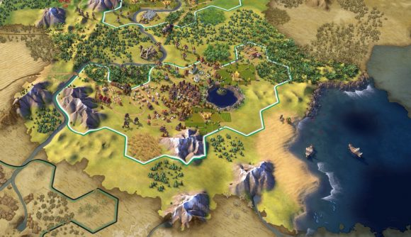 A map screen in Civilization 6 shows an early village set between some mountains.