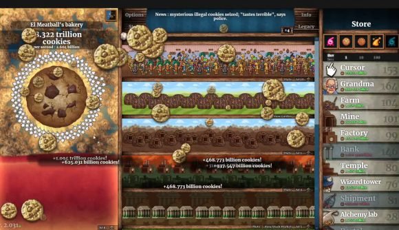 A typical look at multi-billion cookie-per-second operation in Cookie Clicker