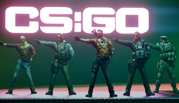 A line of five CSGO characters boogying to upbeat music on a stage with a neon CSGO sign behind