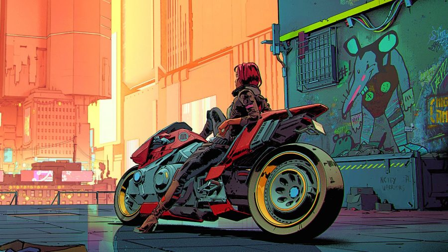 V resting on her motorcycle in concept art for Cyberpunk 2077
